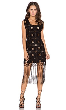GLAMOROUS Printed Fringe Dress in Black