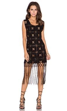 GLAMOROUS Printed Fringe Dress in Black