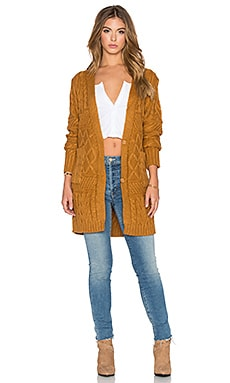 GLAMOROUS Long Sleeve Cardigan in Tan