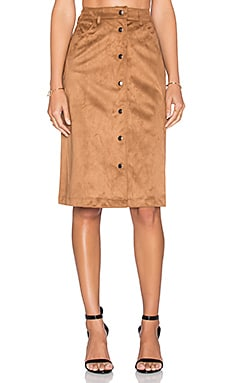 GLAMOROUS Button Front Skirt in Tan