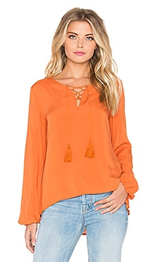 Lace Up Long Sleeve Top in Rust