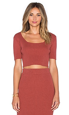 GLAMOROUS Short Sleeve Crop Top in Rust