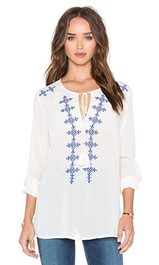 GLAMOROUS Embroidered Top in Cream Blue Embroidered