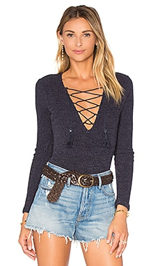 Lace Up Bodysuit in Navy Rib Thin Stripe