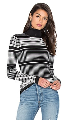 GLAMOROUS Turtleneck Top in Black White Stripe