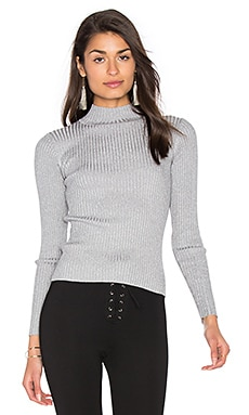 GLAMOROUS Turtleneck Top in Grey Silver Lurex