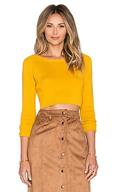 Long Sleeve Crop Top in Mustard