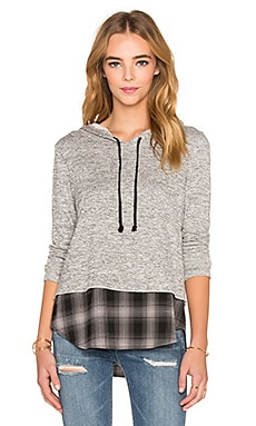 Generation Love Chester Plaid Hoodie in Charcoal