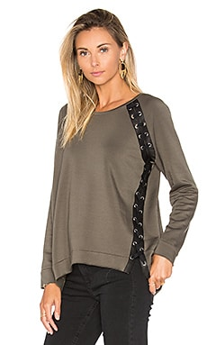 Generation Love Darcey Lace Up Sweater in Army Green & Black