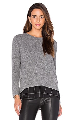 Hannah Plaid Sweatshirt en Gris Chiné & Carreaux Noir