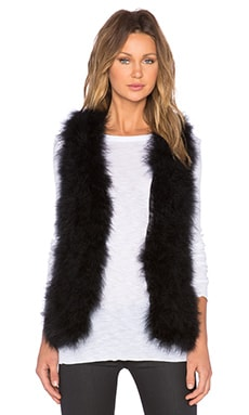 Marisa Marabou Feather Vest in Black