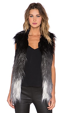 Generation Love Zia Ombre Faux Fur Vest in Grey & Black & Creme