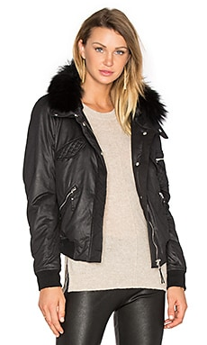 Georgina Asiatic Raccoon Bomber Jacket in Black