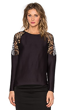 Generation Love Veronica Lace Long Sleeve Top in Black