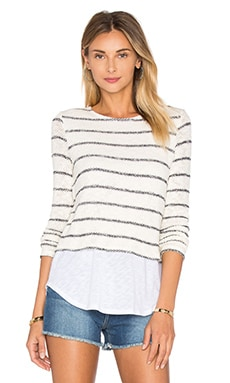 Brooke Stripe Top en Ivoire & Marine