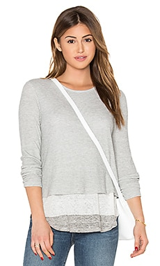 Brooke Waffle Top in Heather Grey & White