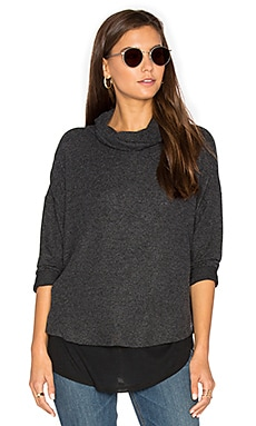 Ada Turtleneck Top in Charcoal & Black