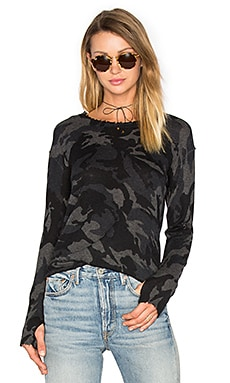 Abigail Cashmere Top in Charcoal Camo