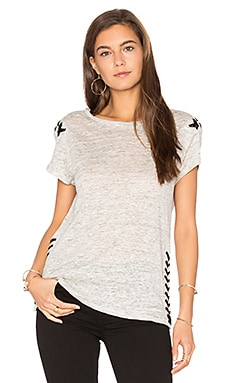 Oliver Lace Up Tee in Heather Gray