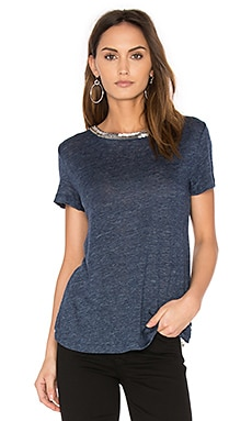 Harper Herringbone Tee in Navy