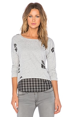 Generation Love Brooklyn Shred Layered Top in Heather Grey & Black Plaid