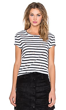 Generation Love Mackenzie Stripe Tee in White & Navy