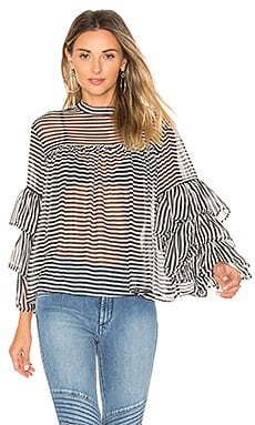 The Bell Sleeve Blouse in Dark Navy & White Stripe