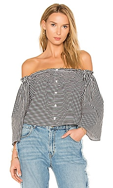 The Off The Shoulder Top in Black & White Stripe