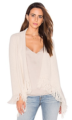 Goddis Isabel Fringe Cardigan in Cotton Seed