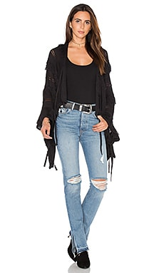 Goddis Ziggy Fringe Cardigan in Black