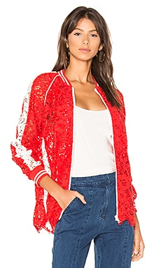 Lace Bomber Jacket in Ruby Red