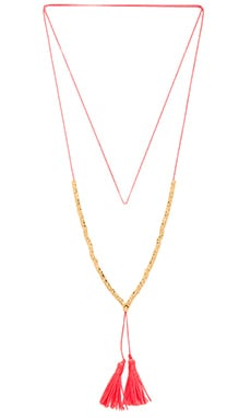 Laguna Beaded Necklace in Gold & Coral