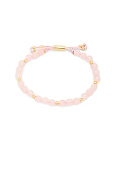 Power Gemstone Beaded Bracelet in Rose Quartz & Gold
