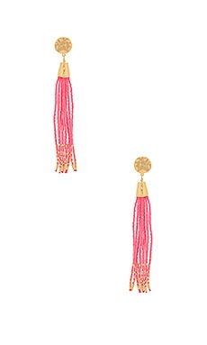 Salina Beaded Tassel Earrings en Hot Pink & Gold