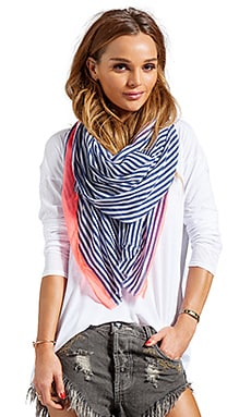 Zuma Scarf in Navy/White Stripes w/Neon Pink