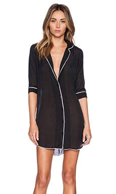 Gooseberry Intimates Milan Long Sleeve Dress in Black & White