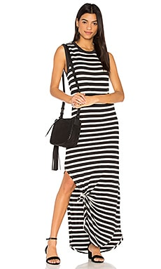 The Knotted Tee Dress in Black & Cream Stripe