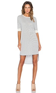 The Great The Wedge Dress in Cream Mini Stripe
