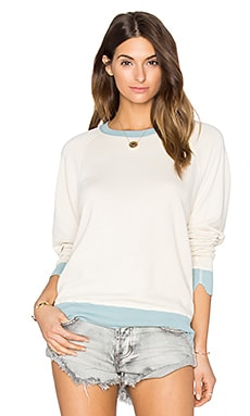 The Great The College Sweatshirt in Vanilla & Mist Rib