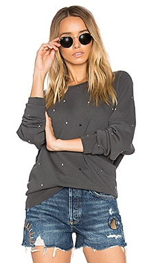 The College Multi Dot Embroidery Sweatshirt en Washed Black
