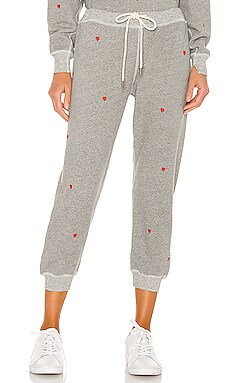 The Cropped Thermal Sweatpant With Heart Embroidery The Great $195
