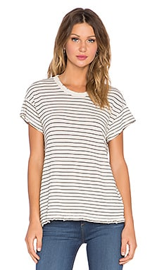 The Great The Boxy Crew Tee in Cream Stocking Stripe