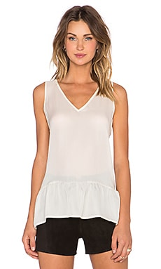 The V Neck Flounce Tank in Cream