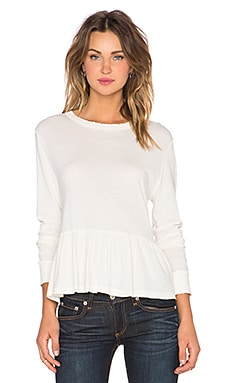 The Great The Long Sleeve Ruffle Tee in Washed White