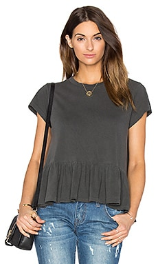 The Ruffle Tee in Washed Black