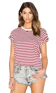 The Great The Boxy Crew Tee in Vintage Red & Cream Stripe