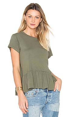 The Ruffle Tee in Camo Green