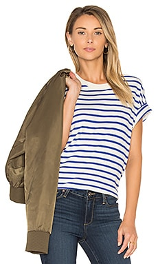 The Boxy Crew Tee in Blue & Cream Stripe