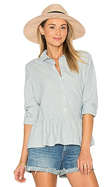 The Drop Ruffle Oxford en Indigo Stripe