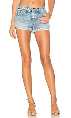Adriana Mid-Rise Slouchy Short Tacked and Rolled in Love Rollercoaster